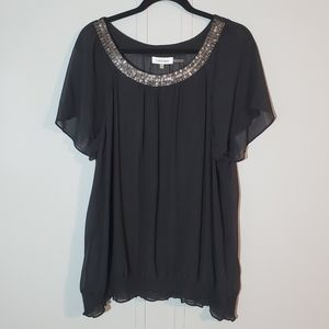 Calvin Klein Semi Sheer Embellished Neckline Top